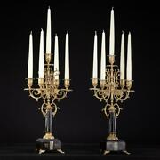 Candelabra Pair | 2 Candle Holders | Antique Brass Marble Baroque 5 Lights 19.3