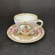 """18th Century Meissen Porcelain Tea Cup And Plate 5.5""""x 3"""""""