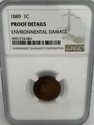 1 1889 1c Indian Head Penny Proof - Graded Ngc Proof Details - Environmental