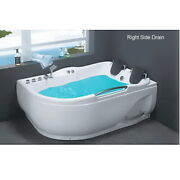 Two Person Jetted Bathtub With Air Bubble Heater Touch Panel 70.5x 47.5