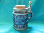 Gertz West Germany Cobalt Blue Decorated Stein With Pewter Lid - Vgc