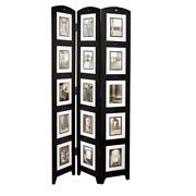 Room Divider Photo Triple-panel Wood Privacy Folding Picture Collage Frame Black