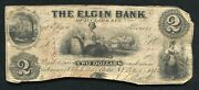 1852 2 The Elgin Bank Of D. Clark And Co. Rome Ny Obsolete Currency Note R
