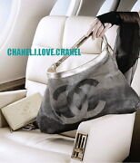 08c Ombre Silver Perforated Leather Cc Logo Hollywood Hobo Bag