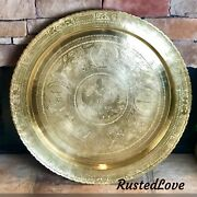 Large Round Brass Etched Tray Wall Hanging / Serving Tray Oriental Design 28
