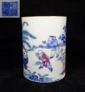 Chinese Antique Hand Painting Polychrome Porcelain Brush Pot Marked Qianlong