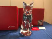 Baccarat 9-inch Solid French Crystal Cat Figurine - Baccarat Box Included