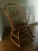 Antique Primitive Windsor Hoop Back Spoon Spindle Rocking Chair Solid And Rare