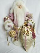 Santa Claus Victorian Style Hooded Velvety Robe Gold Beads Ornaments Gift Bag