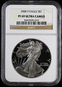 2000 P Proof American Silver Eagle Ngc Pf 69 Ultra Cameo
