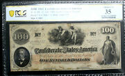 T-41 100 1862 Confederate Currency Csa Pcgs 35 Choice Very Fine Pf22 R4