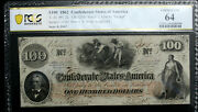 T41 100 1862 Confederate Currency Csa Pcgs 64 Choice Uncirculated Pf 22 Super