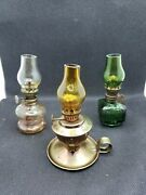 Vintage Lot Of 3 Mini Glass Oil Lamps With Shades