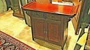 Antique Chinese Rosewood Hand Carved Blossom 2 Doors2 Drawers Altar Cabinet