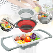 3pcs Silicone Kitchen Collapsible Colanders Sink Strainers W/ Extendable Handles