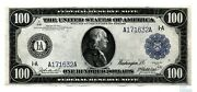 1914 100 Federal Reserve Note Boston Fr 1084 Blue Seal Lare Note