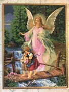 Angles Completed Cross Stitch Art Handcrafted Needlepoint Saint Family