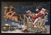 Patrioticsanta Claus In Sled With Flagtoys1907 Christmas Postcard-h793