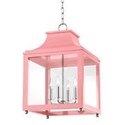 Mitzi Leigh 4-light 25 Pendant Light In Polished Nickel And Pink