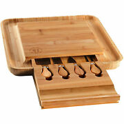 Bambusi Bamboo Cheese Charcuterie Board Set With Knives And Utensils Used