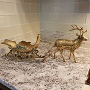 Vintage Heavy Duty Brass Reindeer And Sleigh Sled 22 Long