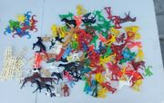 Lot Of Vintage Cowboy's And Indians, Monkeys, Horses, Plastic Toys Tim-mee Read