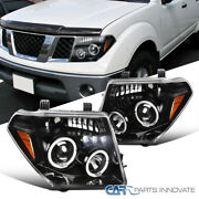 For 05-08 Nissan Frontier 05-07 Pathfinder Pearl Black Halo Projector Headlights