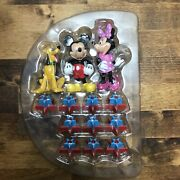 Vintage Pluto Mickey And Minnie Mouse Birthday Cake Toppers And Candle Holders