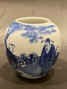 Chinese Blue And While Kangxi Mark Water Coupe Brush 2 5/8andrdquo 6.5 Cm Cracks