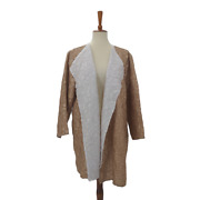 Chicos Travelers 3p Reversible Crushed Jacket Sand Gold White Womens 16 18 P New