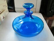 Vintage Ship Decanter - Blue Glass W/ Stopper - Flat Bottom 8.5 Tall, 9.5 Wide