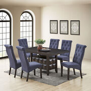 Lemont 7-piece Dining Set Rectangle Table And 6 Parson Chairs Black/blue