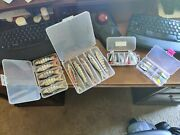 Swimbait Lot Of Tournament Bass Lures, Spoons, Swimbait And Cases