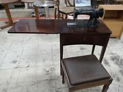 Vintage Singer Sewing Machine With Wooden Sewing Desk , Stool , And Accessories