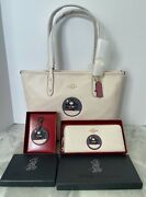 Coach X Disney Minnie Mouse City Zip Tote With Patch, Wallet, And Hangtag