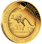 2021 35th Anniversary Of Kangaroo Nugget 1 Oz Gold Proof Perth Mint Case