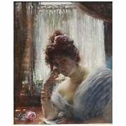 Edouard Frederic Wilhelm Richter Oil Painting Of A Lady Reading A Letter