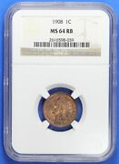 1908 Indian Head Cent Ngc Ms64rb Lf1671a/lh