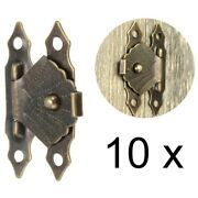 10pcs Box Latch Hasp Clasp Antique Jewelry Case Hardware Cabinet Drawer Hinges