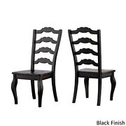 Eleanor Black Farmhouse Trestle Base French Ladder Back Antique Black Chairs And