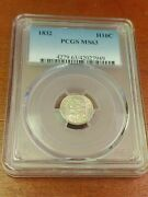 1832 Silver Bust Half Dime Pcgs Ms-63 Rare Recut United States Of America And 5c