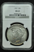 1927 Silver Peace Dollar Ngc Ms63