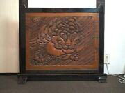 Japanese Antique Partition Tiger Bamboo Wood Sculpture Wooden Okimono Japan Art