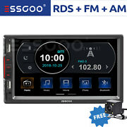 7 Double 2 Din Car Mp5 Player Bluetooth Touch Screen Stereo Radio Rds W/ Camera