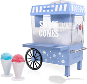 Nostalgia Vintage Countertop Snow Cone Maker Plastic Cups And Ice Scoop Blue