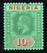 Nigeria Kgv 1921-32 Sg29a 10s. Green And Red On Green Mnh Stamp W/faulty Perf