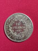1967 France 10 Francs Coin Hercules And Nymphs 37mm 25gr Silver .900