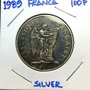 🔥 1989 🔥 France 100 Francs Silver Coin 🔥 Toned / Angel Human Rights Km 970