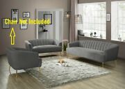 Grey Velvet Sofa And Love Seat Channel Tufting Contemporary Living Room Furniture