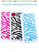 10x Iphone 4 4s Hard Hybrid Zebra Fusion Silicone Case Phone Cover White Pink